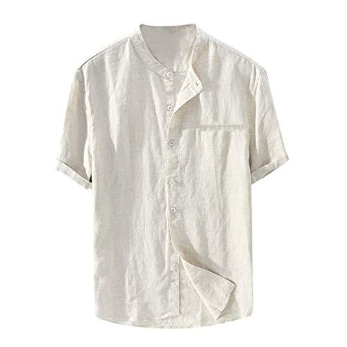 Men's Short Sleeve Cotton Shirt Solid Color Casual Vintage T-Shirt Loose Top Khaki