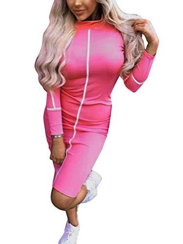 Minetom Mujer Otoño Invierno Bodycon Vestido Lápiz Atractivo Ajustado Formal Mangas Largas Fiesta Noche Cóctel Midi Dress