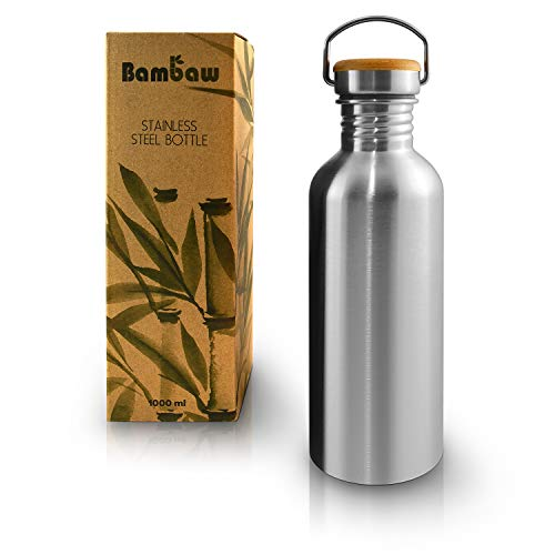 Bambaw Single Wall Stainless Steel Water Bottle | 1 Litre Water Bottle | Eco Friendly Reusable Bottle | Campfire Proof | Plastic Free and Leakproof Metal Water Bottle | 34 oz Eco Water Bottle