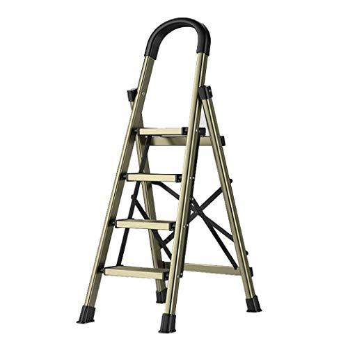 Escalera extensible plegable de aleación de aluminio para el hogar, plegable multifuncional, escalera de espiga para interior de 4/5 escalones gruesos, escaleras telescópicas pequeñas (color: 3 pasos)