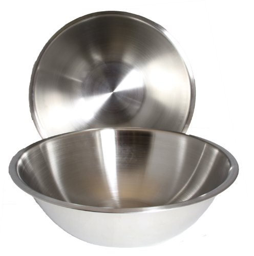 8 Quart, Set of 2, Mixing Bowls, Stainless Steel, Professional Chef, Commercial Kitchen, by Winco, 13.25 Inches Diameter, Flat Base