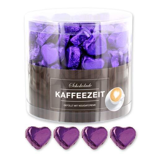 Günthart 150 Stück lila Schokoladen Herzen mit Nougatfüllung | Nougatcreme Kaffeezeit | Schokoladenherzen lila Jakarta |Give away | lila Herzen aus Schokolade | Kaffeezeit (1,2 kg)