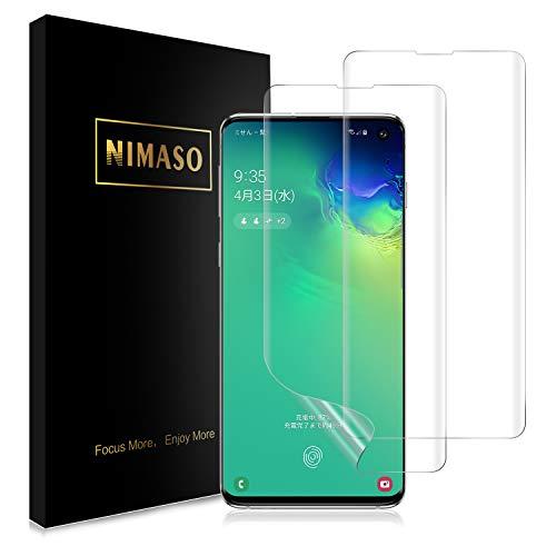 【2枚セット】Nimaso Samsung Galaxy S10 (SCV41 SC-03L)用 保護 フィルム【ガイド枠付き】貼り付け簡単/傷修復/曲面対応/高透過率【超音波指紋センサー対応】