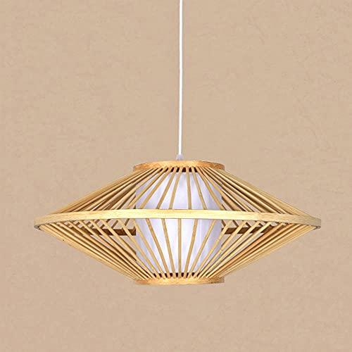 KAIKEA E27 Lámpara colgante de bambú tejida de una sola cabeza, lámpara colgante natural simple tejida a mano, lámpara colgante creativa de granja, lámpara colgante de ratán, lámpara colgante para com