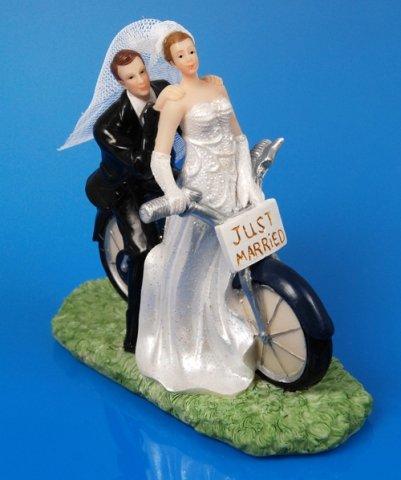 SiDeSo® Tortenaufsatz Hochzeit Tortendeko Brautpaar Tortenfigur (Fahrrad)