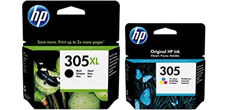HP 3YM62AE, 3YM60AE Cartuchos originales HP 305 negros XL y tricolores en kit con papel fotográfico GM 10x15 265 g / m para 2720 2710 4110 4120 4122 6420 6430 6022 6010 6020 6030