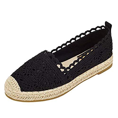 Luckycat Zapatos de Mujer Mujer Zapatos del holgazán de la manera ocasional de lona clásicos del Slip-On cómodos y prácticos talón plano brillante básico de paja -10