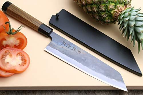 """Yoshihiro Mizu Yaki Blue High Carbon Steel Super Kurouchi Kiritsuke Multipurpose Chef Knife (8.25""""(210mm) & Saya Cover)"""