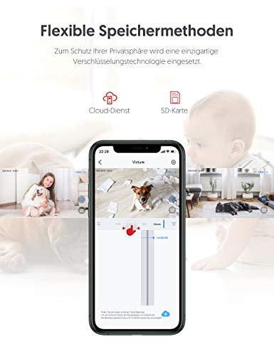[2021 aktualisierte Version] WiFi IP-Kamera, Victure 1080P Überwachungskamera, Babyphone mit Kamera, Bewegungsverfolgung und-erkennung, Schallerkennung, Umschaltbare Nachtsicht, Victure Home APP