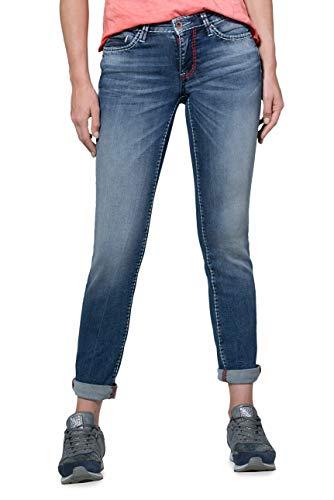 SOCCX Damen Jeans im Used Look mit geradem Bein