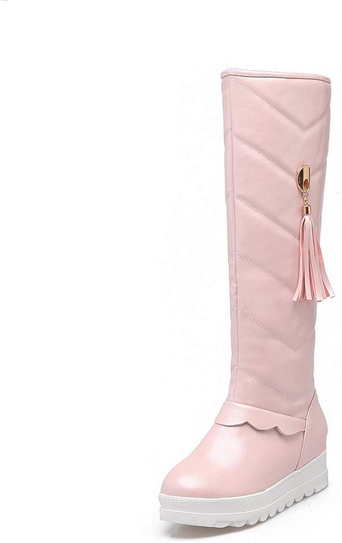AN Womens Tassels Metal Buckles Urethane Boots DKU02402