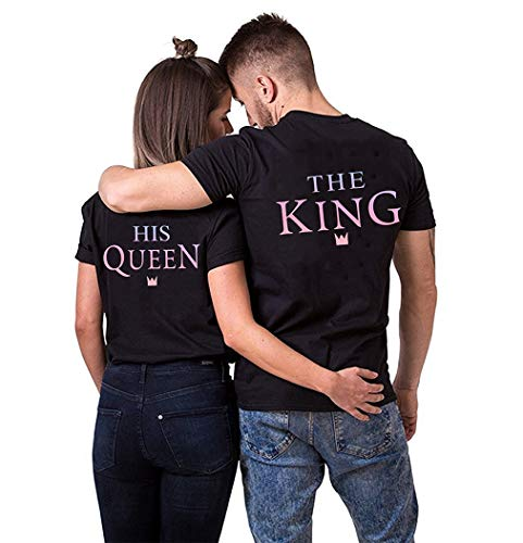 Couple Shirts King Queen T-Shirts pärchen t Shirt Partner Tshirts Set Partnerlook Paar t-Shirt Sommer Kurzarm Oberteile 2er(Schwarz1,King-S+Queen-S)