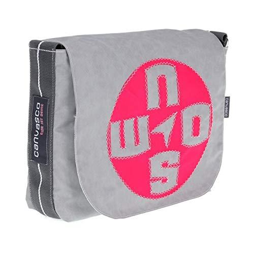 Messenger Bag CANVASCO Mini/Tasche grau/Gurt grau-weiß/Motiv Kompass pink