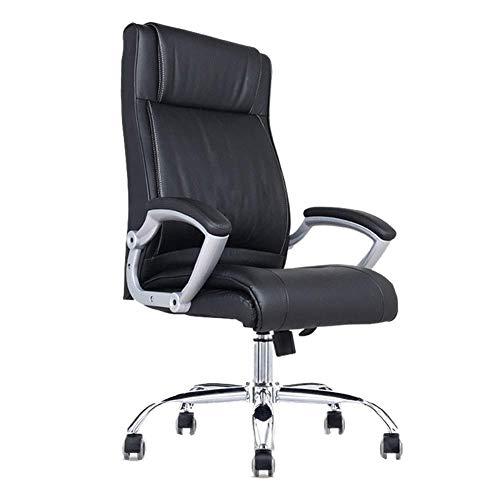 OSALADI vrijetijdsstoel computerstoel huishouden bureaustoel van echt leer ergonomische stoel draaistoel met hoge rugleuning (kleur: bruin maat: 120-128 cm)