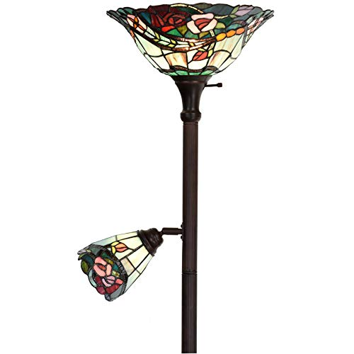 Bieye L10739 Rose Flower Tiffany Style Stained Glass Torchiere Floor Lamp with 14 inch Wide Shade and 6-inch Wide Rotatable Shade for Working Reading, 70 inch Tall