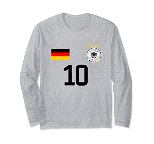 Germany Football Jersey Style - Print on Back Soccer Germany Langarmshirt