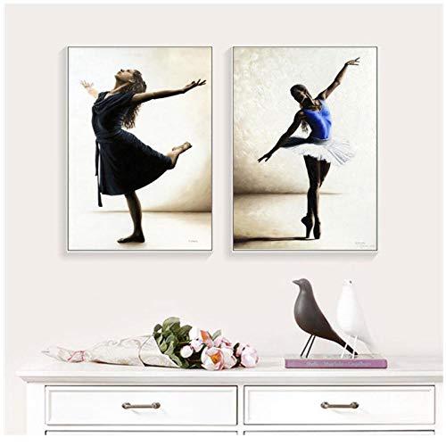 MULMF balletdans meisjes foto wooncultuur canvas kunst schilderij muur kunstdruk tekening poster figuur schilderij voor woonkamer- 50X70Cmx2 niet ingelijst
