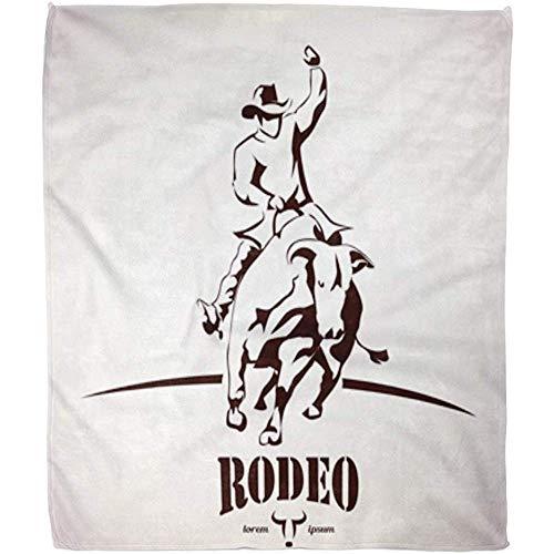 LONGORN BULL RODEO SYMBOLO SILhouette Cowboy Rider Bucking Bowein dier, zachte woonkamer bank 102 x 127 cm deken warm fuzzy bed hotel