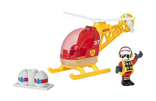 Cheapest Prices! BRIO World - 33797 Firefighter Helicopter | 3 Piece Helicopter Toy for Kids Ages 3 ...