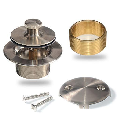 Conversion Kit Bathtub Tub Drain Assembly, Lift and Turn Tub Drain Kit, Brass Construction Easy Installation (Brushed Nickel)