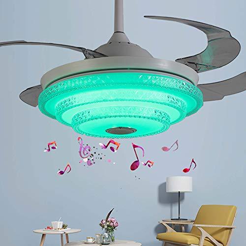 Ventilador DE Techo LED Modelo con Altavoz, ASPAS Plegables Y LUZ Regulable Redondo con Reproductor De Música Bluetooth Colgante De Luz,Blanco