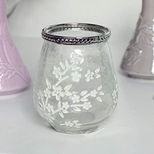 Melody Maison - Portacandele in vetro trasparente con motivo floreale