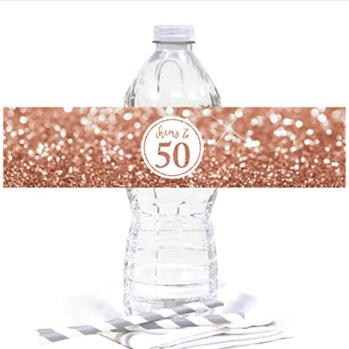 Andaz Press Glitzy Faux Rose Gold Glitter Water Bottle Sticker Labels, Cheers to 50 Years, 50th Birthday or Anniversary, 20-Pack