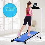 KLY Cinta Correr Plegable No Motorizada - Mquina para Correr, Trotar Caminar con Pantalla - para Entrenador Ejercicio Cardiovascular Home Gym Cardio (Azul)