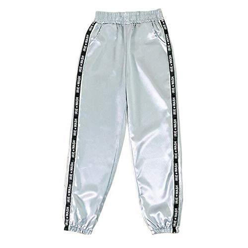 Auiyut Reflektierende Hose Frauen Casual Jogging Sporthose Hip Hop Elastische Taille Sweatpants Streetwear Freizeithose Traininghose Lange Hosen mit Tasche