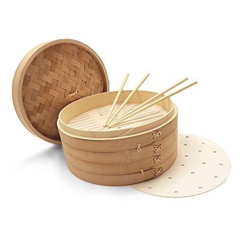 OKAIDY Handgemachter Karbonisierter Bambus-Dampfkorb (25,4 cm) 2-stufiger Teigtaschen-Korb mit Deckel – Dampfgarer Kochen für Gemüse, Huhn, Reis – Inklusive 50 Wachseinlagen, 2 Paar Essstäbchen