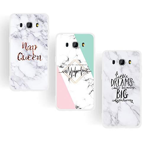 ChoosEU kompatibel mit 3X Hüllen Samsung Galaxy J5 2016 Hülle Silikon Muster Marmor Transparent Handyhülle für Mädchen Frau Mann, Dünn Silikonhülle Durchsichtig Stoßfest Case - Königin, Traum