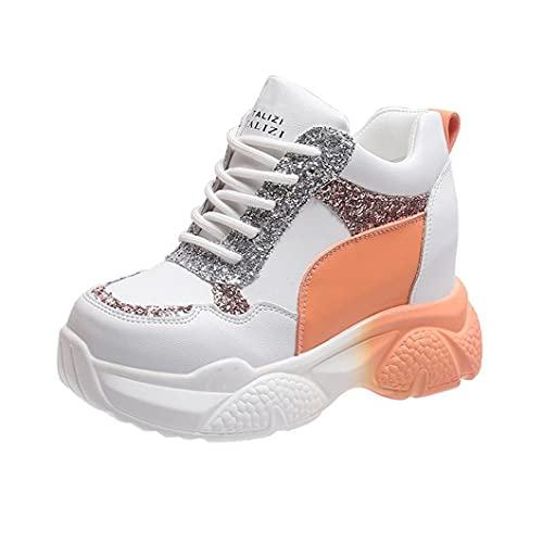 DIONGS Lentejuelas Brillantes Altura Aumentar Zapatos Mujeres Chunky Plataforma Deporte Zapatos Mujer Zapatillas de Deporte Casual Encaje Up Entrenadores Orange 37