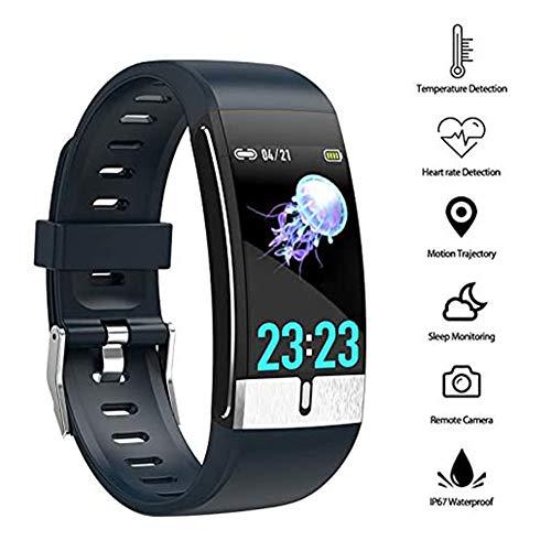 YUN Clock@ Smart Watch Fitness Tracker Misurazione Temperatura Orologio Fitness Uomo Donna Cardiofrequenzimetro da Polso Contapassi Calorie Sportivo Impermeabile IP68 per Android iOS Telefono