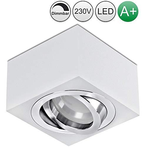 lambado® Flache LED Aufbaustrahler/Deckenstrahler Set inkl. 230V 5W Spots dimmbar - eckige Aufbauleuchte/Deckenspots in weiss
