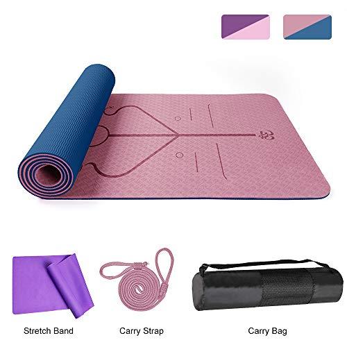 DBG Yogamatte TPE rutschfeste Sportmatte Yogamatte mit Verbesserter Strukturierter Oberfläche für Zusätzlichen Halt, rutschfeste Trainingsmatte für Alle Arten von Yoga, Pilates und Fitness