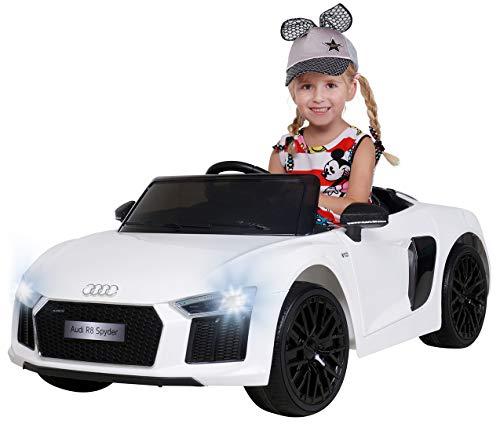 Actionbikes Motors Kinder Elektroauto Audi R8 Spyder - Lizenziert - 2 x 45 Watt Motor - Rc 2,4 Ghz Fernbedienung - Eva Vollgummireifen - USB - Softstart - Elektro Auto für Kinder ab 3 Jahre (Weiß)