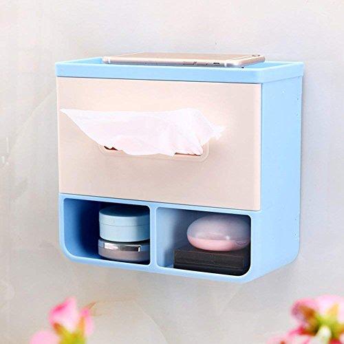 WTT Toiletpapierhouder, zelfklevende rolhouder, papieren vlieger, zakdoekhouder, wandmontage, telefoon opbergvak, kunststof badverdeler, wc-aflegplank, toiletten, waterdicht, 7 x 3 x 8 inch