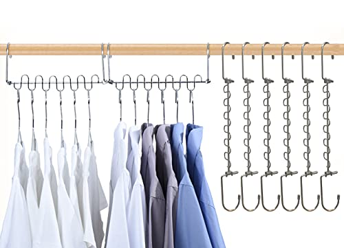 8 perchas mágicas para ropa, perchas de ahorro de espacio para armarios, organizador de perchas de metal, sistema de armario inteligente, percha de ropa multifunción para pantalones, vestido, ropa