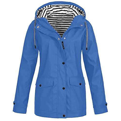 Chaquetas para mujer Reino Unido de rayas chaqueta a prueba de viento lluvia al aire libre ligero abrigo protección solar ropa deportiva talla grande con capucha cortavientos, A014-azul claro, 4XL