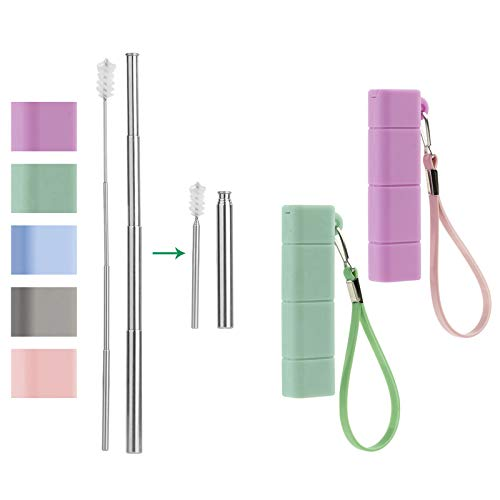 Yoocaa Collapsible Reusable Straws, Portable Stainless Steel Drinking Straw, Foldable Metal Straw with Travel Case & Cleaning Brush 2 pack, Purple & Green
