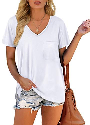 Summer T-Shirts for Women V Neck Short Sleeve Pocket Cute Tops White S