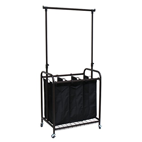 Oceanstar 3-Bag Rolling Adjustable Hanging Bar Laundry Sorter, Bronze