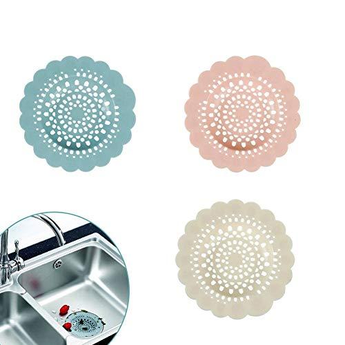 EQLEF Cubierta de Drenaje de Silicona, Forma de Flor Cubierta de desagüe de la Ducha tapón colector de Pelo baño Filtro de Pelo Fregadero colador Fregadero de la Cocina 3 Piezas
