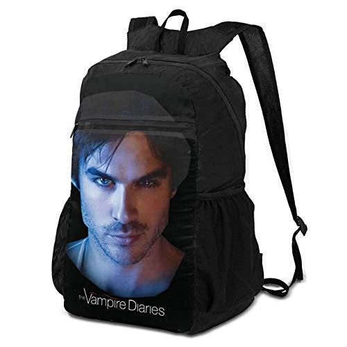 Vampire Diaries Mochila plegable, ligera, plegable, multiusos, práctica, plegable, para acampar, playa, al aire libre, mochila impermeable para hombres, mujeres, viajes, senderismo, mochila