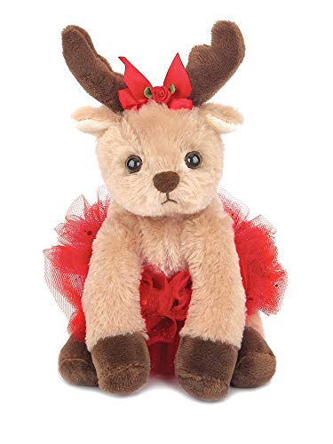 Bearington Darling Dancer Holiday Plush Stuffed Animal Ballerina Reindeer, 6 inches