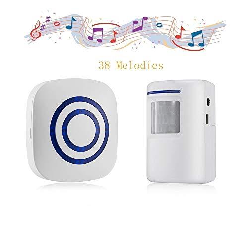 Door Chime,Wireless Business Door Motion Sensor Detector Smart Visitor doorbell Home Security Driveway Alarm with 1 Plug-in Receiver and 1 PIR Detector Weatherproof(White)