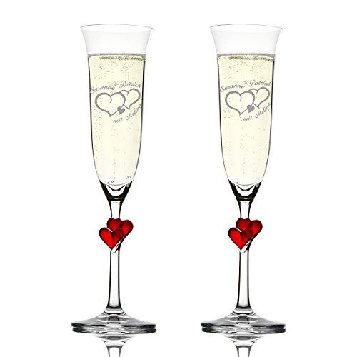 Stölzle Lausitz Amour Ensemble de 2 coupes à champagne avec gravure personnalisée motif – Deux Coeurs avec petit cœur