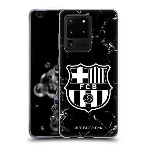 Head Case Designs Offizielle FC Barcelona Marmor Schwarz Wappen Muster Soft Gel Huelle kompatibel mit Samsung Galaxy S20 Ultra 5G