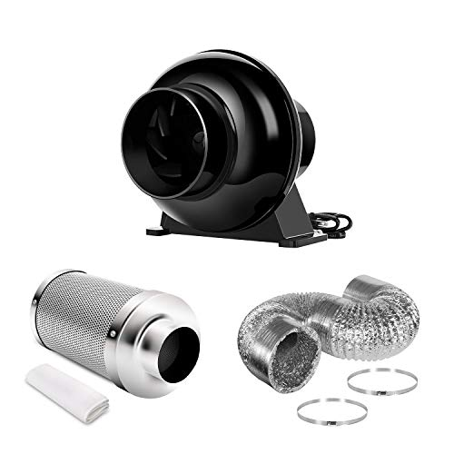 iPower 4 Inch 195 CFM Inline Fan Circulation Vent Blower and Air Carbon Filter 8 Feet Ducting Combo for Grow Tent Ventilation, Kits, Black