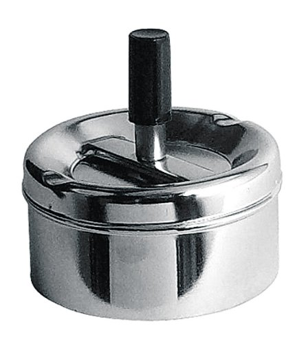 Premier Housewares 305204 Ash Tray Small Silver Outdoor Ashtray Chrome Outdoor Ashtray with Lid for...